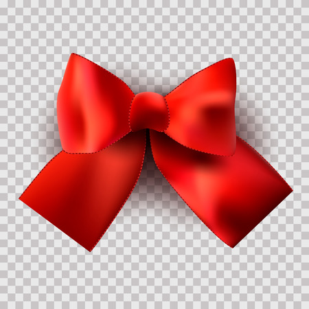 Red Satin bow on a transparent background for a holiday, birthday, St. Petersburg. Valentines Day. Vector Çizim