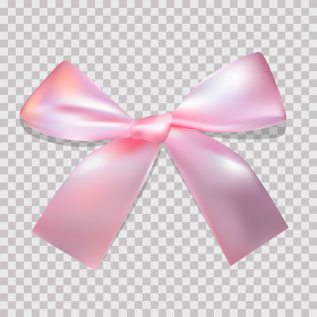 Pink Satin bow on a transparent background for a holiday, birthday, St. Petersburg. Valentines Day. Vector Çizim