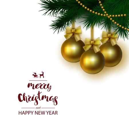 A square white background with a festive inscription lettering Merry Christmas and Happy New Year with a golden ball with an yellow bow on a branch. Template for the poster. Greeting card. Vector. Illustration