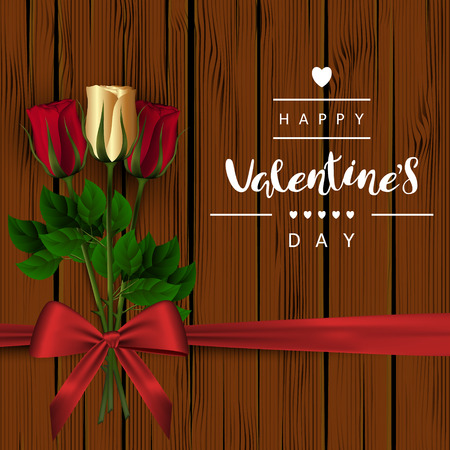 A square brown wooden background with red and gold buds of roses on a green stem and a red bow. The festive inscription of the lettering Happy Valentines Day Vector. Illustration
