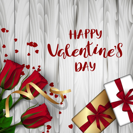 A square light wooden board with red buds of roses on a green stem and a box with a bow, hearts. Festive inscription of the lettering Happy Valentines Day Vector. View from above Illustration