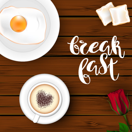 Template square brown wood board background. A cup of cappuccino with a heart, an egg on a plate, bread toasts and red roses. Inscription Lettering Breakfast. Vector. View from above. Vettoriali