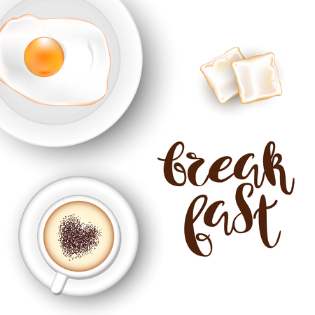 Template square white background. A cup of cappuccino with a heart, an egg on a plate, bread toasts and red roses. Inscription Lettering Breakfast. Vector. View from above. Illustration