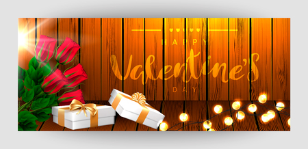 Template horizontal festive wooden board background. Red rose, garland, white gift boxes with a gold bow. Inscription lettering Happy Valentines Day. Vector.
