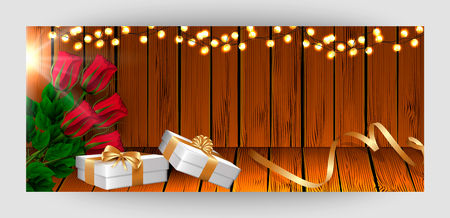 Template horizontal festive wooden board background. Red rose, garland, white gift boxes with a gold bow, ribbon. Vector. Illustration