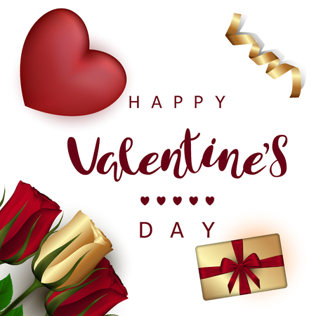 Red heart with roses, gift boxes with a bow, gold ribbon on a white background. Festive Inscription Lettering Happy Valentines Day. Ilustracja