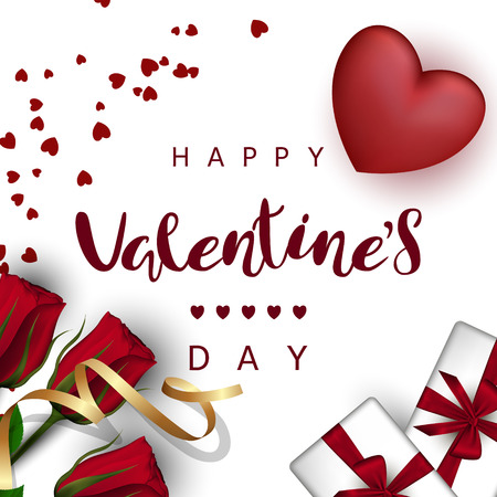 Red heart with roses, gift boxes with a bow, gold ribbon on a white background. Festive Inscription Lettering Happy Valentines Day Ilustracja