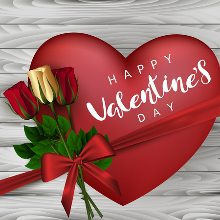 Red heart with roses and bow on a background with wooden boards. Festive Inscription Lettering Happy Valentines Day. Vector.