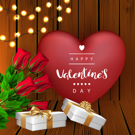 Red heart with garlands and roses, gift boxes with bow, background with wooden boards. Festive Inscription Lettering Happy Valentines Day. Vector. Illustration