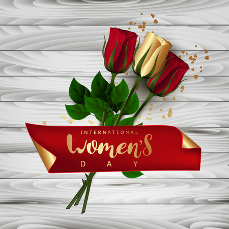 Red roses. Celebratory banner. Gift box with a bow. Wooden background. Festive Inscription Lettering International Womens Day. Vector.