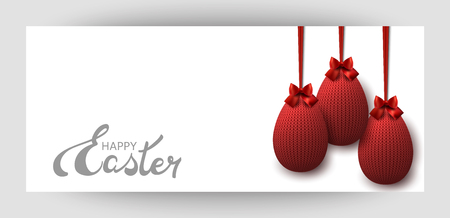 Red knitted egg with a bow. Celebratory banner. Festive Inscription of the lettering Happy Easter. Vector.