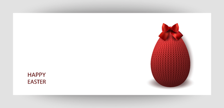 Red knitted egg with a bow. Celebratory banner. Festive Inscription