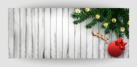 Horizontal card with wooden background. Green branches, a gold ribbon, a knitted ball with a red bow. Happy New Year and Merry Christmas. Vector. Illustration