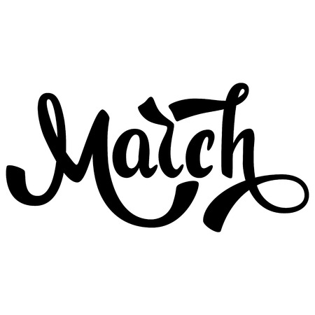 March. Name of the month. Handwritten Lettering. Text. Modern Calligraphy. Vector.
