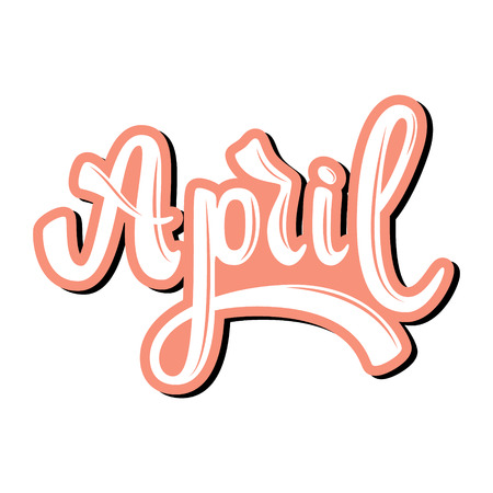 April Name of the month. Handwritten Lettering. Text. Modern Calligraphy. Vector. Vettoriali