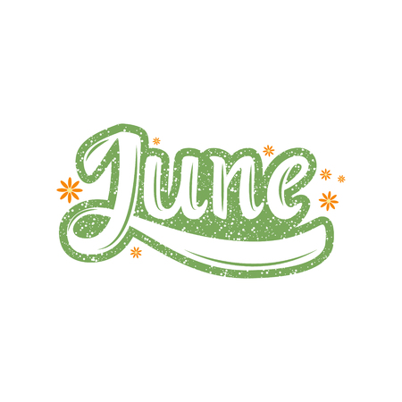 June. Name of the month. Handwritten Lettering. Text. Modern Calligraphy. Vector. Vettoriali