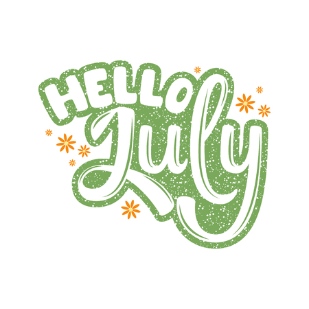 Hello July. Name of the month. Handwritten Lettering. Text. Modern Calligraphy. Vector.
