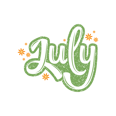July. Name of the month. Handwritten Lettering. Text. Modern Calligraphy. Vector. Vettoriali