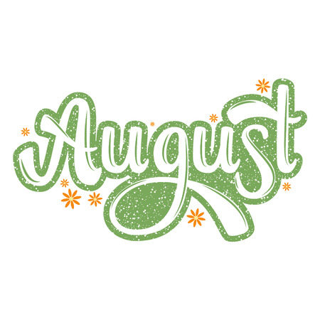 August. Name of the month. Handwritten Lettering. Text. Modern Calligraphy. Vector.