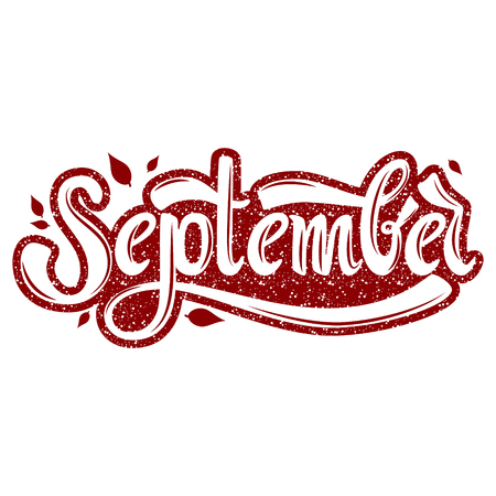 September. Name of the month. Handwritten Lettering. Text. Modern Calligraphy. Vector.