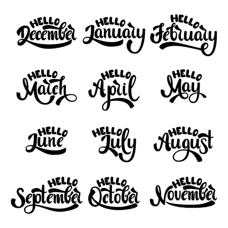 A set of month names. January, February, March, April, May, June, July. Handwritten Lettering. Text. Modern Calligraphy. Vector. Illustration