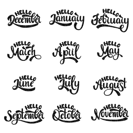 A set of month names. January, February, March, April, May, June, July. Handwritten Lettering. Text. Modern Calligraphy. Vector. Vettoriali