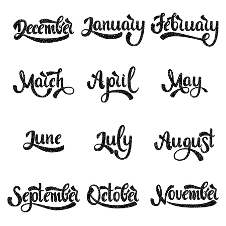 A set of month names. January, February, March, April, May, June, July. Handwritten Lettering. Text. Modern Calligraphy. Vector. 일러스트