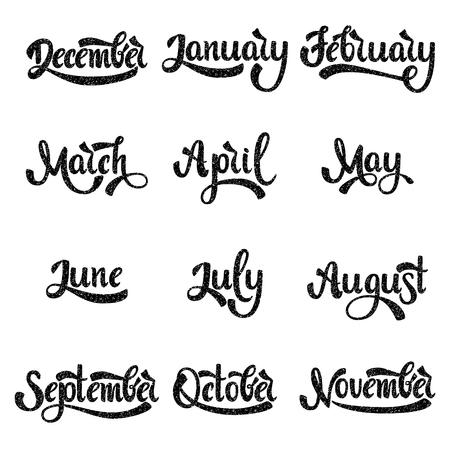 Una serie di nomi di mesi. Gennaio febbraio marzo Aprile Maggio Giugno Luglio. Lettere scritte a mano. Testo. Calligrafia moderna. Vettore. Vettoriali