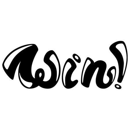 Win. Lettering design. Handwritten typography. Vector