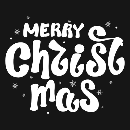 Inscription - Merry Christmas. Lettering design. Handwritten typography. Vector