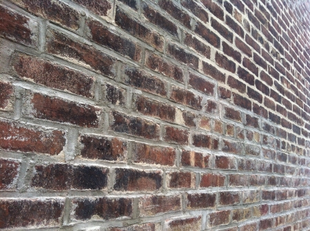 Red brick wall with perspective.
