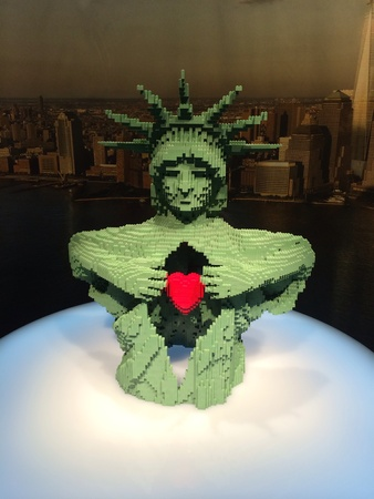 This New York-based artist has multiple unique exhibitions created solely from standard LEGO bricks with several new sculptures created specifically for each exhibition  Each show has countless colorful LEGO pieces which Sawaya has transformed into whimsi