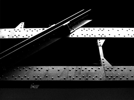 girders: Steel beams or girders from a construction site  Black and White