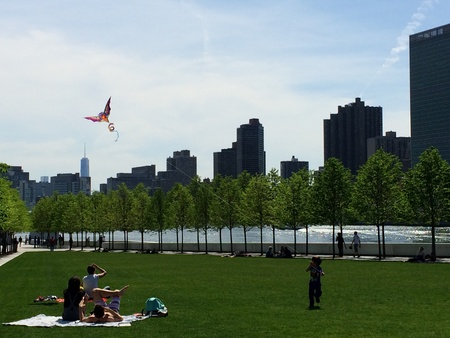 sun bathers: Boy flying kite in park on Roosevelt Island, New York City.