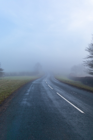 Misty road in Yorkshire national park