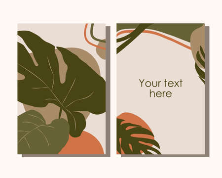 Modern vector templates with organic abstract in autumn colors. Tropical leaves background for branding design, posters, social media, greeting cards, invitations, postcards