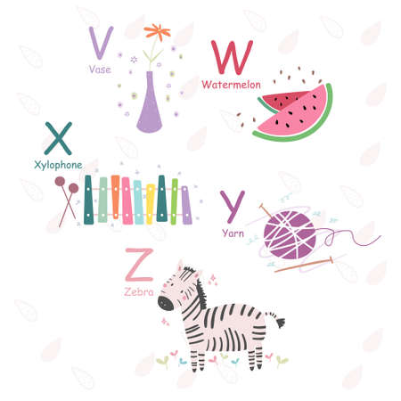 English alphabet with cute and funny pictures in vector, learn to read V, W, X, Y, Z letters. Isolated stickers for children's books Ilustración de vector