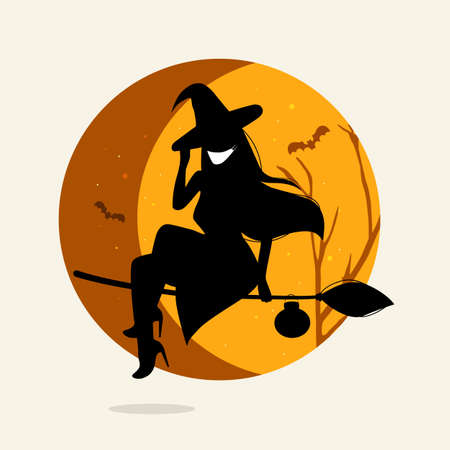 Silhouette of girl with long hair on the moon background. Fashion witch in medical mask. Prevents the flu and infection from the covid-19 during Halloween. Health care concept, trick or treat picture
