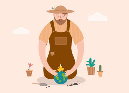 Happy big man takes care of small flower. Gardener enjoying his hobby. Save the world, protect nature and ecology 向量圖像