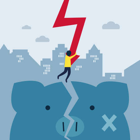 Finance crisis concept. Businessman is holding an arrow and hanging over broken piggy bank