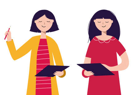 Two smiling girls are working with a tablet. Consultation, teaching, online support. Isolated vector illustration