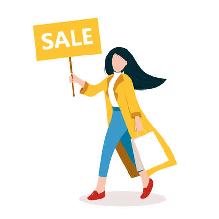 Sale design template. Fashionable girl goes shopping and holds advertising banner. Autumn, spring colorful outfit. Business, promotion concept. Isolated vector illustration Stock fotó - 153296773