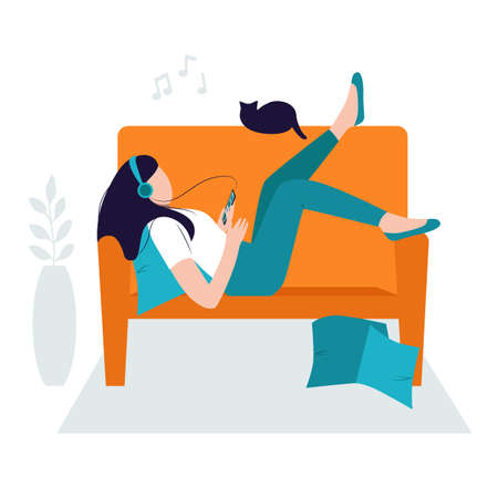 Relaxing concept, stay at home. Girl chilling on the sofa with headphones and listening to music. Woman resting and enjoying the sounds. Isolated vector illustration Ilustração