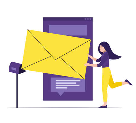 Sending a message, receiving mail. Online talking, chatting. Tiny girl puts huge letter in the postbox. Vector illustration for subscribe on the website