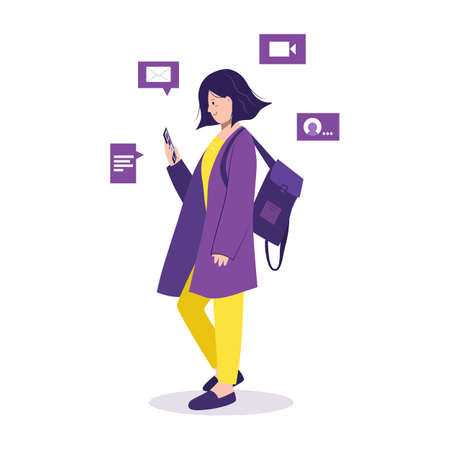 Online talking, chatting. Concept of social media. Young girl uses the phone, scrolls the news while walking. Student with backpack browsing mobile internet, spending free time. Isolated vector Vektorgrafik