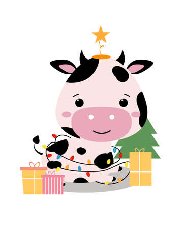Christmas card. Chinese New Year of bull 2021. Cute adorable cow in cartoon style. Funny animal lies by the Christmas tree with gifts, decorated with a garland. Isolated vector illustration Vettoriali
