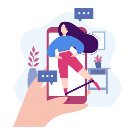 Online workout. Stay at home concept. Fitness by internet with instructor. Girl shows leg swing exercise with elastic band. Sports training by mobile app. Healthy lifestyle. Vector illustration Vecteurs