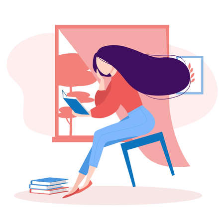 Book lovers, literature fan. Elegant girl reading with enthusiasm, floating in the air. Young woman studying, preparing to exam. Isolated vector illustration Vettoriali