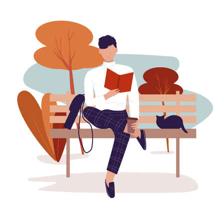 Literature fan. Stylish young man sits on a park bench, reads a book and drinks coffee. Exam preparation, study or lunch break. Isolated vector illustration