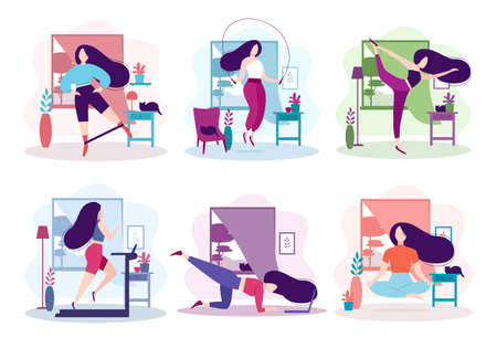 Set of sports activity at home. Fitness and healthy lifestyle. Pretty girl doing meditation in the room, leg swing exercise with elastic band, running on the treadmill. Isolated vector illustration